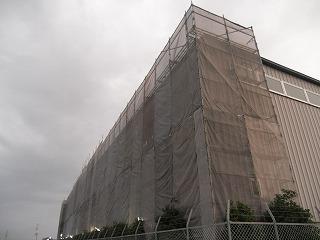 遮熱塗料の工事が始まりました。
